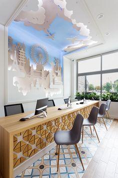 Transilvania Travel Agency office design in Oradea, Romania by Tuzson Design studio. Small Office Design, Office Table Design, Office Interior Design, Office Designs, Interior Ideas, Design Ppt, Design Case, Design Websites, Design Concepts