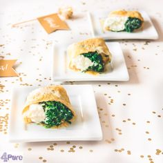 Omelet with spinach wrap- English recipe - A delicious vegetarian appetizer for New Year's Eve:these omelette wraps with spinach. The spinach is flavored with garlic, raisins and pine nuts and accompanied wit a delicious sour cream. That is rolled in a thin omelette.