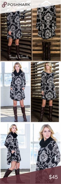 Baroque Print Tunic Dress Classy Black and white baroque print tunic dress. Made of a poly/spandex blend. Pair with leggings and knee boots. Or simply wear as a dress. Size S, M, L, XL ETA Nov. 24 pre order now. Threads & Trends Dresses
