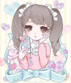 Girl with kawaii cell