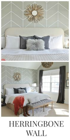 DIY Herringbone Wall City Farmhouse Valspart Beach and Oyster master bedroom and accent wall behind new bed.