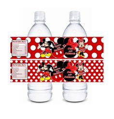 Mickey Minnie Mouse Twin Water Bottle Labels - Red Boy Girl Mickey Minnie Mouse Birthday or Baby Shower Water Bottle Label. $4.00, via Etsy.