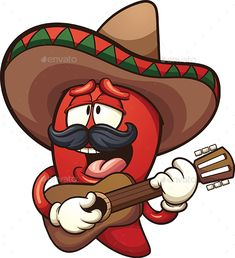 Buy Mexican Chili Pepper by memoangeles on GraphicRiver. Mexican chili pepper singing with a guitar. Vector clip art illustration with simple gradients. Cartoon Kunst, Cartoon Art, Chili Party, Mexican Chili, Mexican Artwork, Mexican Birthday Parties, Scary Tattoos, Cactus Drawing, Cartoon Sketches