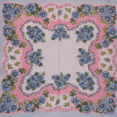 Pink and blue floral hankie