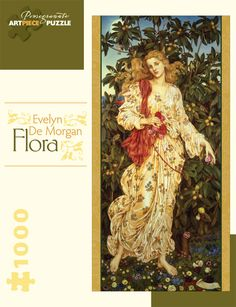 Flora is a 1000 panoramic piece jigsaw puzzle from Pomegranate. Jigsaw features artwork by Evelyn De Morgan. Original artwork credit: Flora, 1894, by Evelyn De Morgan (English, 1855–1919). Oil on canvas.
