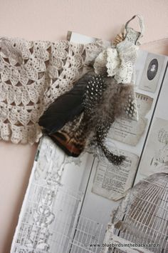 Bluebirds in the backyard: A string on the wall  Bohemian Shabby Styling at Home with Feathers!