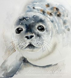 GUEST ARTIST: The Love of Crafting and Painting ~ Doodlewash® - – watercolor painting by Karin Åkesdotter of baby seal - Arches Watercolor Paper, Watercolor Landscape, Abstract Watercolor, Watercolor Illustration, Simple Watercolor, Tattoo Watercolor, Watercolor Trees, Watercolor Background, Watercolor Mermaid