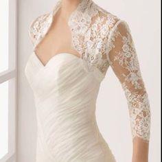 Taffeta Wedding Dresses Silk taffeta dress with a lace bolero? Wedding Shrug, Bridal Bolero, Wedding Jacket, Wedding Gowns With Sleeves, Dresses With Sleeves, Bridal Shrugs, Wedding Tops, Ivory Wedding, Bridal Lace