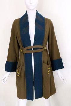 Vintage 1920s Art Deco flapper wool frock coat