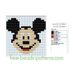 Disney Mickey Mouse face free Pyssla Hama Beads design 24 x 24 4 colors