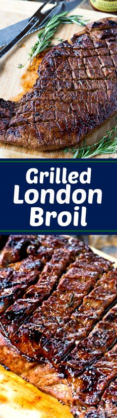 London Broil Recipe ~ Says: This Grilled London Broil is juicy and flavorful and cooks in just a matter of minutes. Making shallow cuts on each side of the meat helps it cook up just right and lets the flavor of the marinade really get into the meat. Spicy Recipes, Grilling Recipes, Meat Recipes, Low Carb Recipes, Dinner Recipes, Cooking Recipes, Beef Dishes, Food Dishes, Grilled London Broil