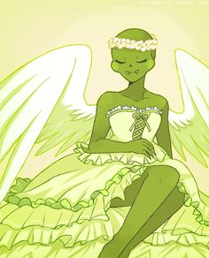 Calliope. She's of a race called cherubs, and a cherub is a kind of angel.