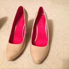 Unlisted nude heels. Size 8.5, nude patent. Worn once, VGUC. Unlisted Shoes Heels