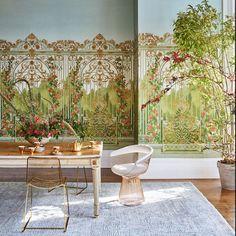 Tijou Gate | Cole & Son Scenic Wallpaper, Unique Wallpaper, Iron Trellis, Riverside Garden, Cole And Son Wallpaper, Artist And Craftsman, Royal Palace, Spring Green, Designer Wallpaper