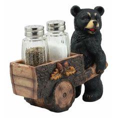Ebros Gift Ebros Woodlands Spice Delivery Black Bear Pushing Vintage Wagon Cart Salt And Pepper Shakers Holder Figurine Set Black Bear Decor, Country Bears, Animal Mugs, Bear Theme, Lodge Decor, Farmhouse Wall Decor, Reno, Baby Animals, Baby Pandas
