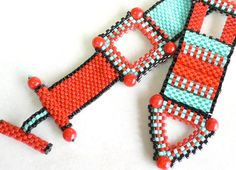 Red Zinger beadweaving bracelet tutorial and by daxbeadartpatterns, $10.00