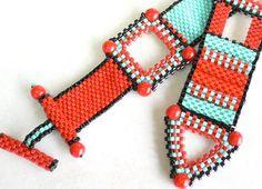 Red Zinger beadweaving bracelet tutorial and by daxbeadartpatterns, $10.00