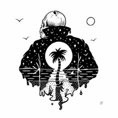 Leave the week behind you and live it up! #jamiebrowneart #fbf #flashback #friday #weekend #vibes #nighttime #righttime #palmtree #tropical #gloom #cheers #letloose #staychill #beers #leatherjacket #skull #electric #ca #jb by jamiebrowneart