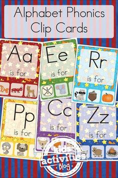 Free Kids Printable Alphabet Phonics Clip Cards make letter learning FUN for preschool, prek, kindergarten, 1st grade as they learn letters and their sounds