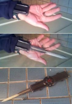 This is a video of a guy who made a fully functional replica of Ezio's hidden blade from Assassin's Creed: Brotherhood. Cool Knives, Knives And Swords, Tactical Knives, Tactical Gear, Tactical Equipment, Survival Gear, Survival Skills, Assasins Cred, Hidden Blade