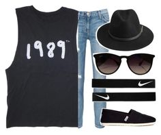 """""""Taylor swift concert"""" by volleyballspikr ❤ liked on Polyvore featuring Current/Elliott, TOMS, BeckSöndergaard, Ray-Ban and NIKE"""
