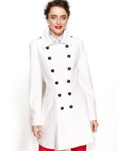 e5865d2cc5f19 Via Spiga Doublebreasted Woolblend Military Aline in White (Winter White) VIA  SPIGA White Double
