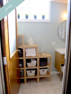 We chose a neat, open storage solution for our master bath makeover by altering some IKEA shelves. See the project on our blog! http://ourhaus.blogspot.com/2012/10/the-1000-or-so-bathroom-makeover-after.html#