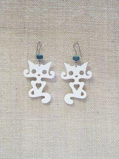 Cute cat earrings laser cut plexiglass Various by muchoshop, $12.00