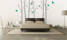 Urban Forest In Grey Wall Sticker, grey trees with turquoise / teal birds. Bedroom wall art.