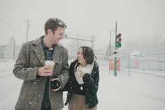 Snow and coffee.  How fun is that?  From Jamie Delaine Photography