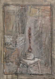 ALBERTO GIACOMETTI 1901 - 1966 ATELIER I Signed and dated Alberto Giacometti 1950 (lower right) oil on canvas 25 3/4 by 18 1/8 in. 65.2 by 46 cm Painted in 1950.