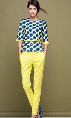 Blue rose print wavy hem blouse with pants