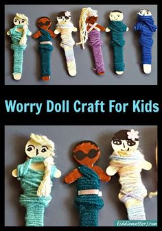 Quick and Easy Worry Doll Craft For Kids. These are great for use in play therapy. These dolls help children who suffer from anxiety. They can also help kids who have suffered childhood trauma. art therapy activities for kids Worry Dolls, Play Therapy Activities, Activities For Kids, Projects For Kids, Crafts For Kids, Child Life Specialist, Art Therapy Projects, Grande Section, Play Therapy
