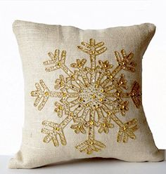 Gold Snowflake Pillow Cover, Ivory Burlap Pillows, Christmas Pillows Gold Beaded, Holiday Pillows, C Christmas Cushions, Christmas Pillow Covers, White Decorative Pillows, Decorative Pillow Cases, Small Pillows, Burlap Fabric, Burlap Pillows, Snowflake Pillow, Gold Cushions