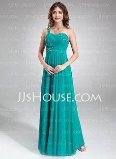 Bridesmaid Dresses - $122.99 - A-Line/Princess One-Shoulder Floor-Length Chiffon Bridesmaid Dress With Ruffle Beading Flower(s) (007016847) http://jjshouse.com/A-Line-Princess-One-Shoulder-Floor-Length-Chiffon-Bridesmaid-Dress-With-Ruffle-Beading-Flower-S-007016847-g16847