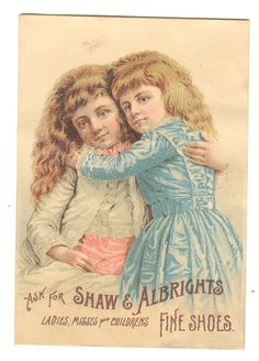 Trade Card Shaw & Albrights Ladies Fine Shoes Louisville KY 1890s 2 Children