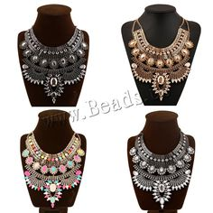 Fashion Statement Necklace, Zinc Alloy, with iron chain & Acrylic, with 6cm extender chain, plated, twist oval chain & faceted & with rhinestone & 2-strand, more colors for choice