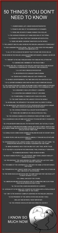 50 things you don't need to know and few of them I didn't want to know. I am never eating a chocolate bar again!