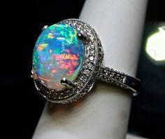 Tiffany opal ring diamond encrusted. Vintage by AmyKJewels on Etsy