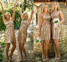 New Rose Gold Bridesmaid Dresses Short Honor Of Maid Formal Gowns For Summer…