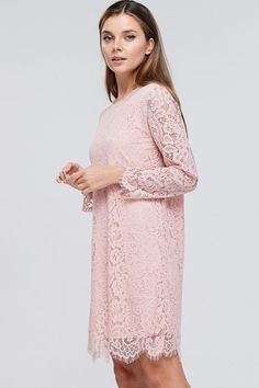 Drew Pink Lace Midi Dress