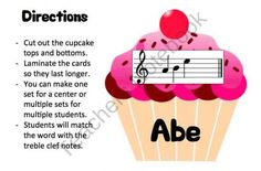 Cupcakes- Treble Clef Music Note Spelling Printable product from Music-and-Technology on TeachersNotebook.com