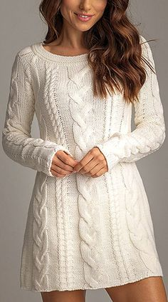 snow sweater dress -- with leggin& this would be an adorable outfit! :) snow sweater dress -- with leggin& this would be an adorable outfit! :) snow sweater dress -- with leggin& this would be an adorable outfit! Cable Knit Sweater Dress, Cable Knit Sweaters, Knit Dress, Sweater Dresses, White Sweater Dress, Pullover Sweaters, Crochet Dresses, Knit Cowl, Crochet Tops