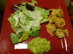 """Low carb """"coconut shrimp lemon guacamole & salad with yogurt dressing. Saturday fun dinner! Haven't ate since lunch after Zumba.  Dressing looks like alot but i added more salad after pic its 2 tbsp. I made some low carb sauce for the shrimp cos I didn't have the ingridients but it taste good! Low carb syrup w/ southwest sweet chillie season. Lol. Recipes are on """"atkins under phase one"""". #lowcarb #keto #atkins #lchf #ketogenic #foodie #foodporn #foodfuel #dinner #lowcarbdinner…"""