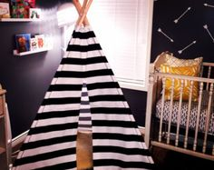Navy/White Stripe Door with solid navy sides by TinyTeePee on Etsy