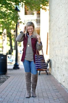 Cute fall casual outfit with over the knee boots and a utility vest
