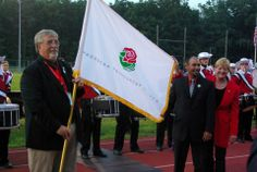 Bud and Jason and Mrs. Sally Bixby and the Tournament of Roses Flag