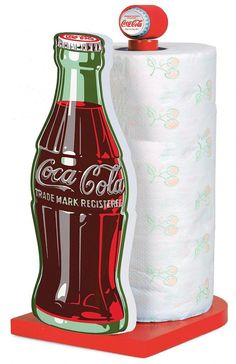 coca cola kitchen decor | Coca-Cola Bottle Wooden Kitchen Roll Holder : TruffleShuffle.com
