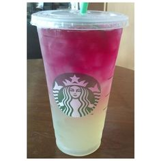 Starbucks Secret Menu Citrus Berry Passion Refresher ❤ liked on Polyvore featuring food, food and drink, drinks, starbucks and food & drinks