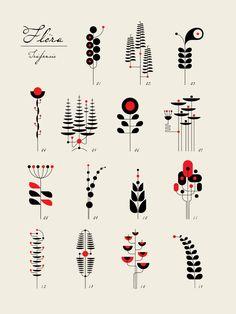 TRÜF : messymod - illustrations and fine art prints Tatoo Tree, Fleurs Art Nouveau, 16 Tattoo, Tattoos, Fleur Design, Abstract Line Art, Art Nouveau Design, Lettering Styles, Geometric Art